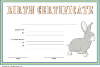 Birth Certificate Template For Rabbit Free 2 In 2020 | Birth intended for Best Rabbit Birth Certificate Template Free 2019 Designs
