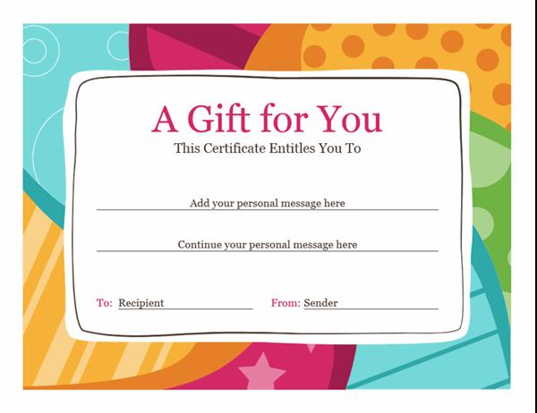 Birthday Gift Certificate (Bright Design) regarding Unique Gift Certificate Template In Word 10 Designs