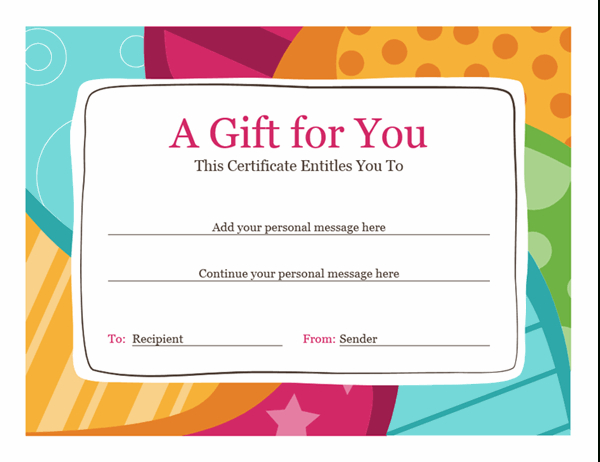 Birthday Gift Certificate (Bright Design) With Regard To Happy Birthday Gift Certificate