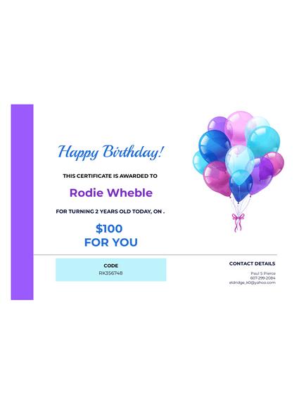 Birthday Gift Certificate Template - Pdf Templates | Jotform For Birthday Gift Certificate