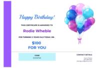 Birthday Gift Certificate Template – Pdf Templates | Jotform with Fresh Happy Birthday Gift Certificate