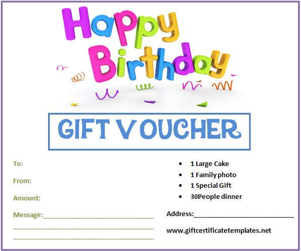 Birthday Gift Certificate Templates | Gift Certificate With Happy Birthday Gift Certificate