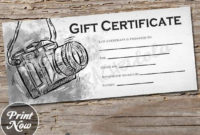 Black And White Camera, Printable Gift Certificate Template pertaining to Printable Photography Gift Certificate Template