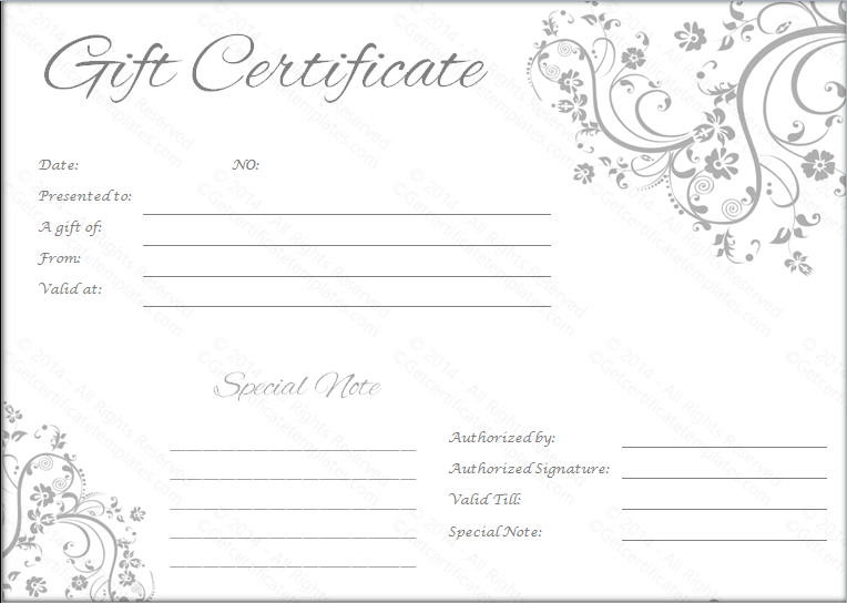 Black And White Gift Certificate Template Free (3 With Regard To Fresh Wedding Gift Certificate Template