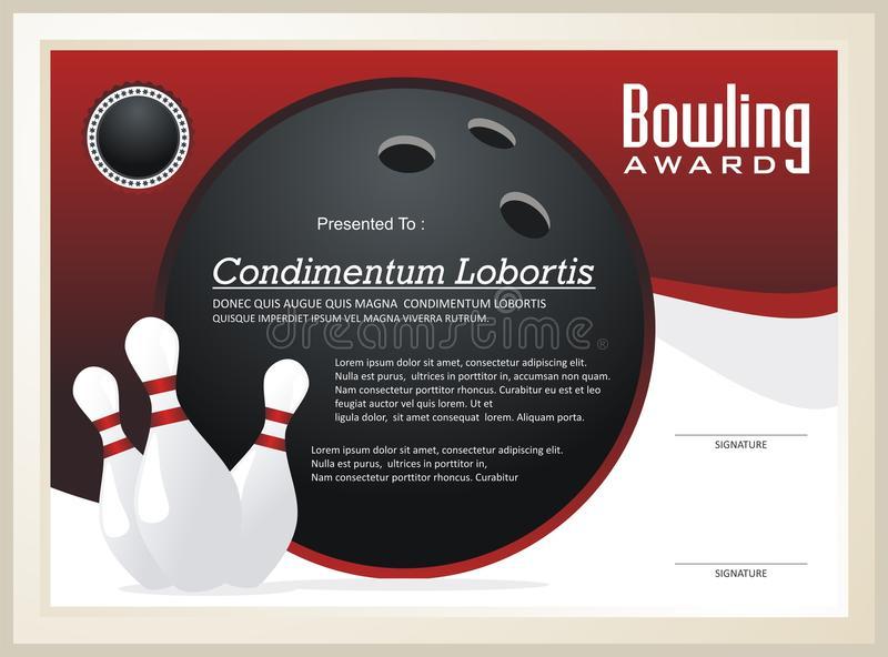 Bowling Certificate / Award Template Vector Stock Vector With Regard To Bowling Certificate Template
