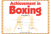 Boxing Certificate Of Achievement Template Download in Boxing Certificate Template