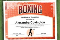 Boxing Customizable Certificate, Download Printable Fitness Template with Unique Boxing Certificate Template