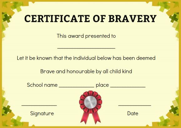 Bravery Certificate: 12 Free Printable Templates To Reward with regard to Bravery Award Certificate Templates