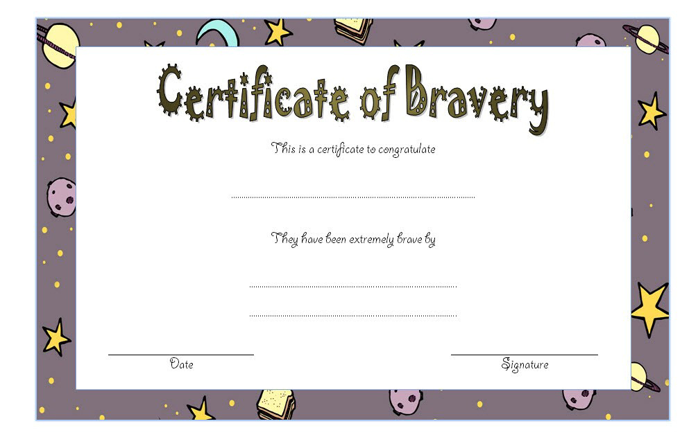 Bravery Certificate Template 5 | Certificate Templates in Bravery Certificate Templates