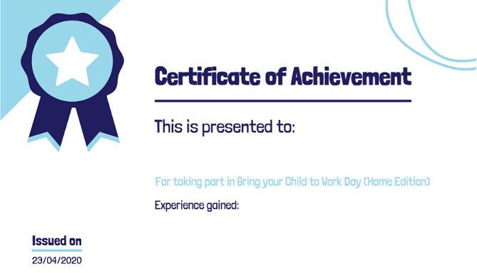 Bring Your Child To Work Day! Home Edition | Dyw Dundee & Angus For Fresh Certificate For Take Your Child To Work Day