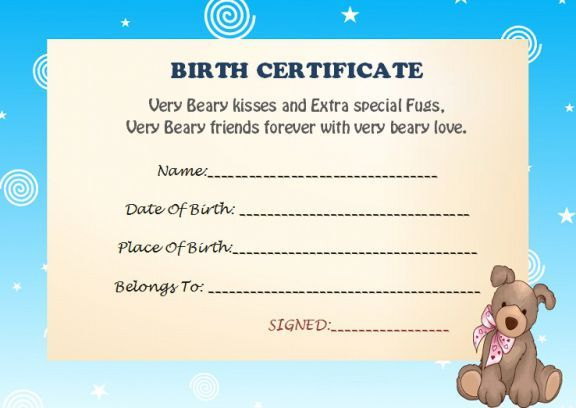 Build A Bear Birth Certificate | Birth Certificate Template Regarding Best Amazing Teddy Bear Birth Certificate Templates Free