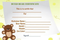 Build A Bear Certificate Template | Birth Certificate within Best Amazing Teddy Bear Birth Certificate Templates Free