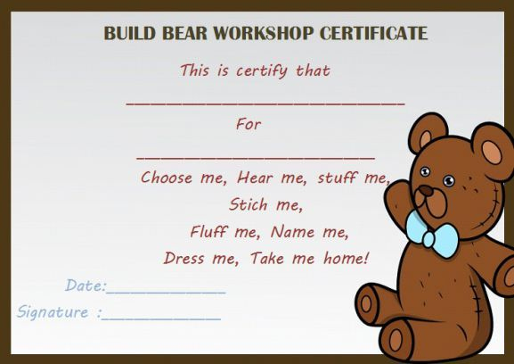 Build Bear Workshop Certificate | Birth Certificate Template With Regard To Amazing Teddy Bear Birth Certificate Templates Free