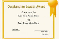 Business Certificates – Oustanding Leader Award with Best Outstanding Student Leadership Certificate Template Free
