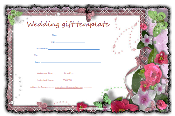 Butterfly Gift Certificate Template | Gift Certificate Throughout Wedding Gift Certificate Template