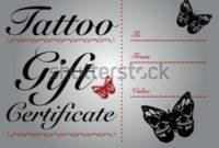 Butterfly Skull Tattoo Gift Card Gift Stock-Vektorgrafik in Best Tattoo Gift Certificate Template