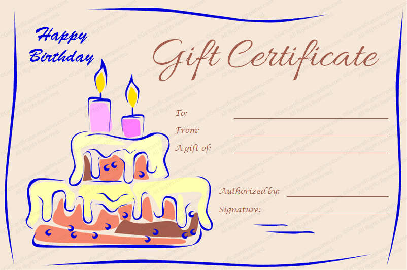 Candles And Cake Birthday Gift Certificate Template Regarding Fresh Happy Birthday Gift Certificate