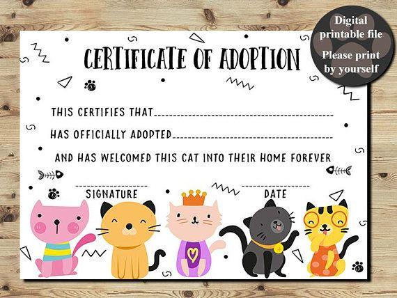 Cat Adoption Certificate Certificate Of Adoption Adopt A In Unique Cat Adoption Certificate Template