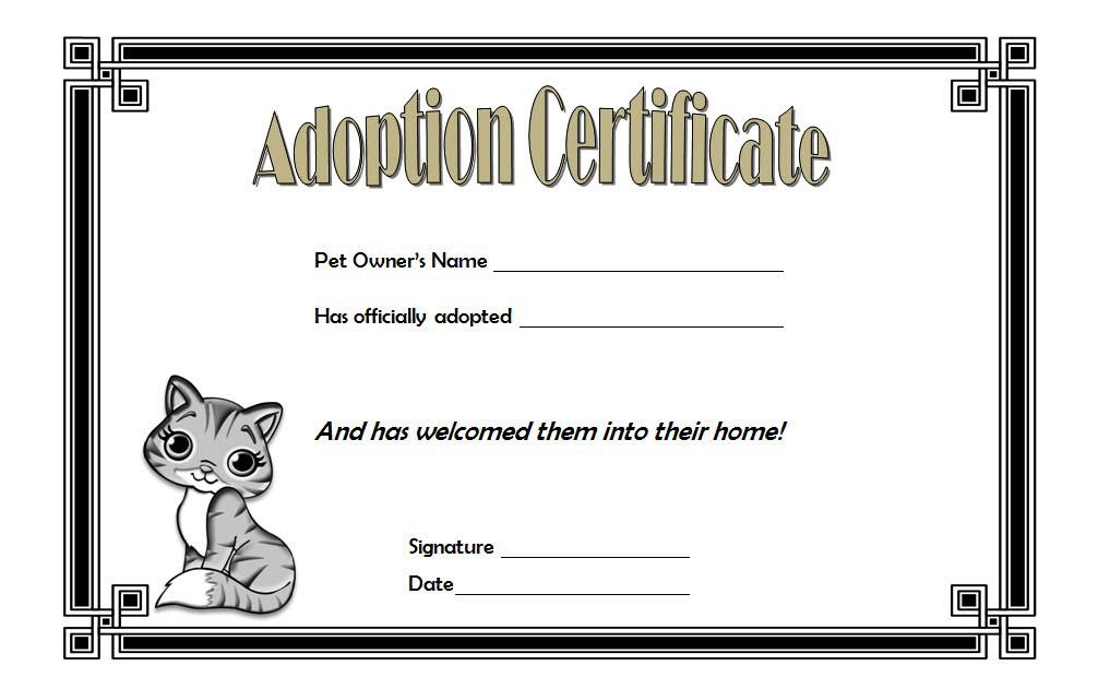 Cat Adoption Certificate Template Free 4 | Adoption regarding Unique Cat Adoption Certificate Template
