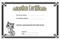 Cat Adoption Certificate Template Free 4 | Adoption with Cat Birth Certificate Free Printable
