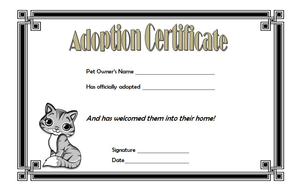Cat Adoption Certificate Template Free 4 | Adoption Within Best Cat Adoption Certificate Templates