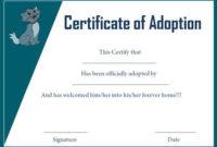 Cat Adoption Certificate Template | Pet Adoption Certificate with Unique Cat Adoption Certificate Template