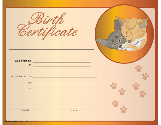Cat Birth Certificate Printable Certificate | Birth with Cat Birth Certificate Free Printable