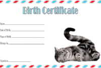 Cat Birth Certificate Template Free 2 | Cat Birth, Birth pertaining to Unique Cat Birth Certificate Free Printable