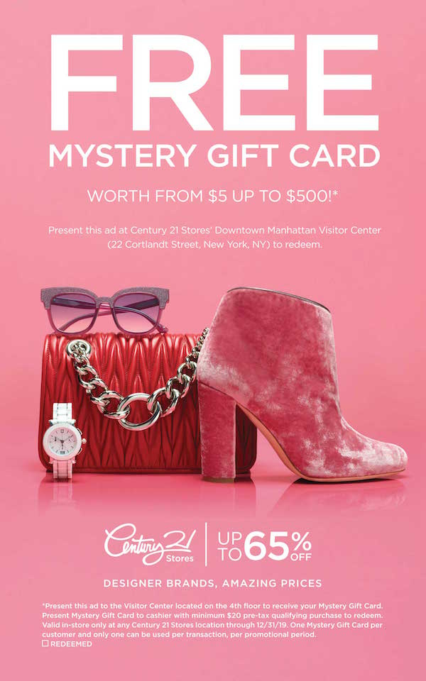 Century 21 Gift Card—Up To $500 Free! Throughout Restaurant Gift Certificates New York City Free