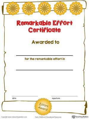 Certificate Awards: Remarkable Effort Certificate In Color Throughout Outstanding Effort Certificate Template