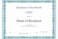 Certificate For Employee Of The Month (Blue Chain Design) throughout Employee Of The Month Certificate Template Word