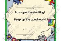 Certificate: Handwriting Award | Printable Awards And throughout Fresh Handwriting Award Certificate Printable