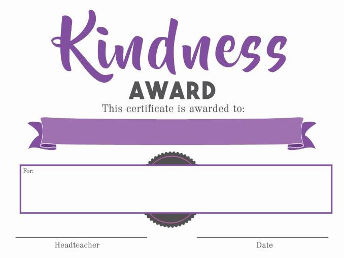 Certificate - Kindness Award in Fresh Certificate Of Kindness Template Editable Free
