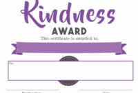 Certificate – Kindness Award pertaining to Unique Kindness Certificate Template Free