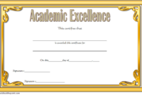 Certificate Of Academic Excellence Award Free Editable 2 inside Fresh Certificate Of Academic Excellence Award