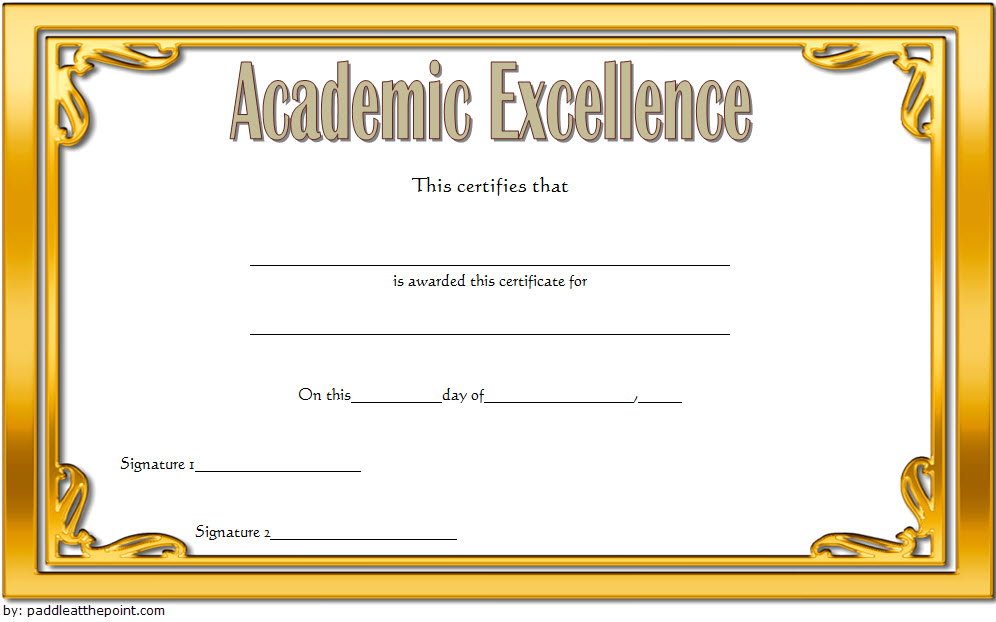 Certificate Of Academic Excellence Award Free Editable 2 With Best Editable Certificate Social Studies