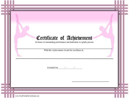 Certificate Of Achievement - Ballet Printable Certificate Intended For Ballet Certificate Templates