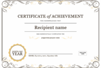Certificate Of Achievement for Certificate Of Achievement Template Word