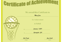 Certificate Of Achievement In Netball Printable Certificate in Netball Participation Certificate Editable Templates