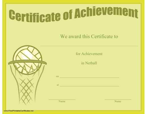 Certificate Of Achievement In Netball Printable Certificate With Regard To Netball Participation Certificate Templates