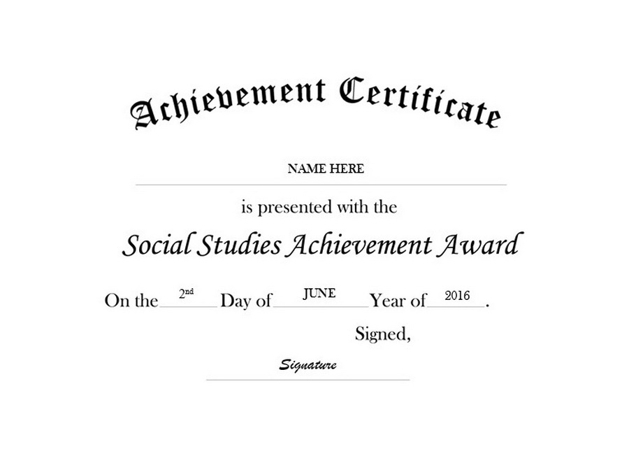 Certificate Of Achievement In Social Studies Free Templates With Best Editable Certificate Social Studies