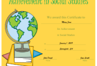 Certificate Of Achievement In Social Studies Printable inside Unique Social Studies Certificate