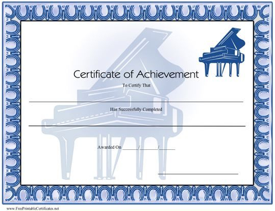 Certificate Of Achievement - Piano Printable Certificate within Piano Certificate Template Free Printable