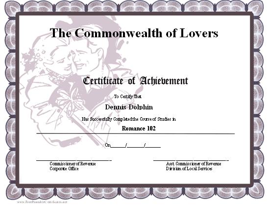 Certificate Of Achievement - Romance Printable Certificate In Best Certificate For Best Boyfriend 10 Sweetest Ideas