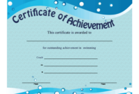 Certificate Of Achievement – Swimming Printable Certificate for Swimming Achievement Certificate Free Printable
