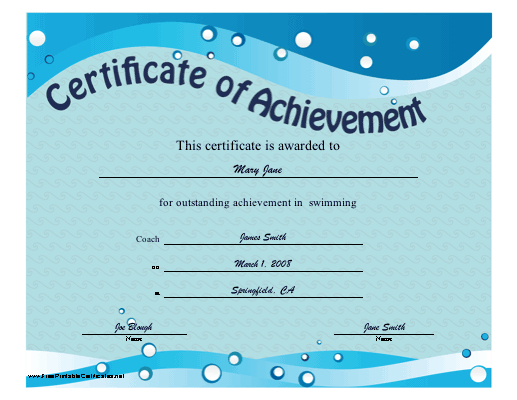 Certificate Of Achievement - Swimming Printable Certificate Throughout Editable Swimming Certificate Template Free Ideas