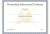 Certificate Of Achievement Template Awarded For Different for Outstanding Performance Certificate Template