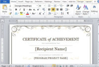 Certificate Of Achievement Template For Word 2013 for Unique Certificate Of Achievement Template Word