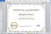 Certificate Of Achievement Template For Word 2013 inside Certificate Of Achievement Template Word