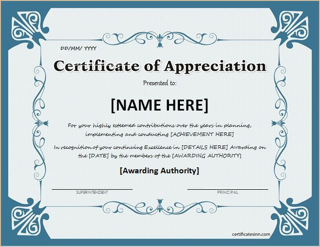 Certificate Of Appreciation For Ms Word Download At Http with Downloadable Certificate Of Recognition Templates